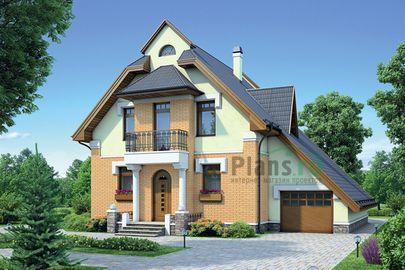 Проект дома с мансардой 13x12 метров, общей площадью 158 м2, из газобетона (пеноблоков), c гаражом, террасой и котельной
