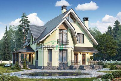 Проект дома с мансардой 13x12 метров, общей площадью 168 м2, из керамических блоков, c котельной и кухней-столовой