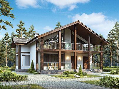 Проект дома с мансардой 13x12 метров, общей площадью 168 м2, из керамических блоков, c террасой, котельной и кухней-столовой