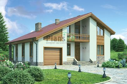 Проект дома с мансардой 13x12 метров, общей площадью 174 м2, из керамических блоков, c гаражом, террасой и котельной