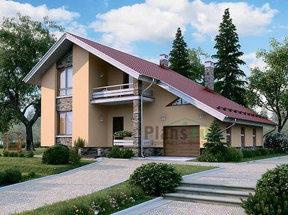 Проект дома с мансардой 13x12 метров, общей площадью 188 м2, из кирпича, c гаражом, террасой, котельной и кухней-столовой