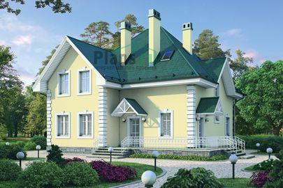 Проект дома с мансардой 13x12 метров, общей площадью 188 м2, из кирпича, c зимним садом, террасой, котельной и кухней-столовой