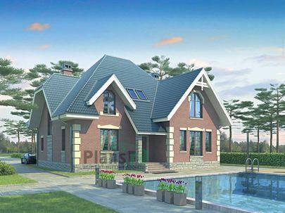 Проект дома с мансардой 13x12 метров, общей площадью 194 м2, из газобетона (пеноблоков), c котельной и кухней-столовой