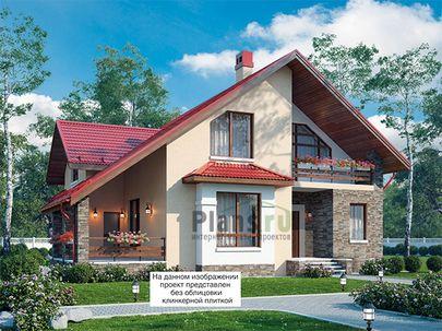 Проект дома с мансардой 13x12 метров, общей площадью 203 м2, из керамических блоков, c террасой, котельной и кухней-столовой