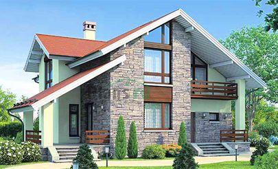 Проект дома с мансардой 13x13 метров, общей площадью 165 м2, из газобетона (пеноблоков), со вторым светом, c террасой, котельной и кухней-столовой