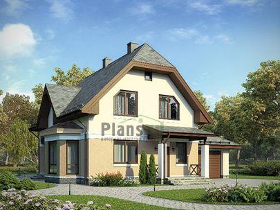 Проект дома с мансардой 13x13 метров, общей площадью 184 м2, из газобетона (пеноблоков), c гаражом, террасой, котельной и кухней-столовой