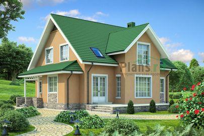 Проект дома с мансардой 13x13 метров, общей площадью 187 м2, из керамических блоков, c террасой, котельной и кухней-столовой