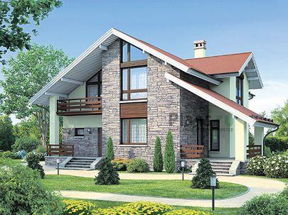 Проект дома с мансардой 13x13 метров, общей площадью 190 м2, из газобетона (пеноблоков), c террасой, котельной и кухней-столовой