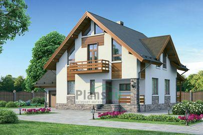 Проект дома с мансардой 13x13 метров, общей площадью 192 м2, из газобетона (пеноблоков), c гаражом, террасой и котельной
