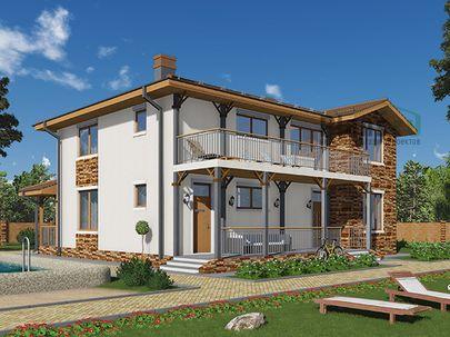 Проект дома с мансардой 13x13 метров, общей площадью 192 м2, из керамических блоков, c террасой, котельной и кухней-столовой
