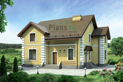 Проект дома с мансардой 13x13 метров, общей площадью 194 м2, из кирпича, c котельной и кухней-столовой