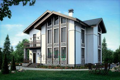 Проект дома с мансардой 13x13 метров, общей площадью 201 м2, из керамических блоков, со вторым светом, c террасой, котельной и кухней-столовой
