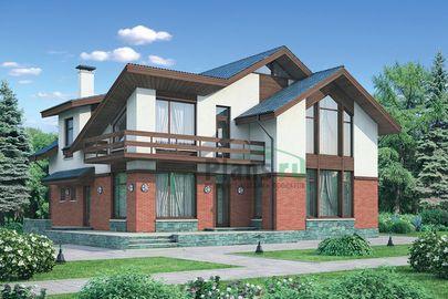 Проект дома с мансардой 13x13 метров, общей площадью 212 м2, из керамических блоков, со вторым светом, c террасой, котельной и кухней-столовой