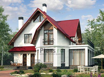 Проект дома с мансардой 13x13 метров, общей площадью 228 м2, из керамических блоков, c террасой, котельной и кухней-столовой