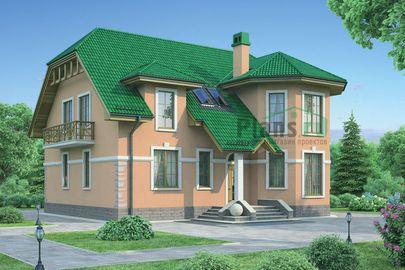 Проект дома с мансардой 13x13 метров, общей площадью 231 м2, из газобетона (пеноблоков), c котельной и кухней-столовой