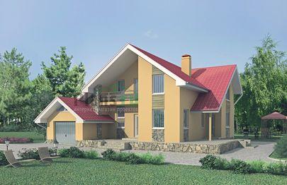 Проект дома с мансардой 13x13 метров, общей площадью 273 м2, из керамических блоков, c гаражом, террасой, котельной и кухней-столовой