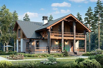 Проект дома с мансардой 13x14 метров, общей площадью 154 м2, из керамических блоков, c террасой и котельной