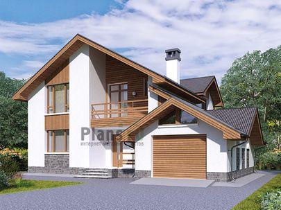 Проект дома с мансардой 13x14 метров, общей площадью 172 м2, из кирпича, c гаражом, террасой, котельной, лоджией и кухней-столовой