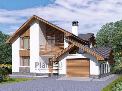 Проект дома с мансардой 13x14 метров, общей площадью 173 м2, из газобетона (пеноблоков), c гаражом, террасой, котельной, лоджией и кухней-столовой