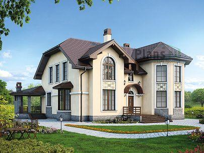 Проект дома с мансардой 13x14 метров, общей площадью 216 м2, из керамических блоков, c террасой, котельной и кухней-столовой