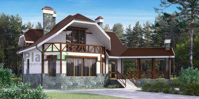 Проект дома с мансардой 13x14 метров, общей площадью 219 м2, из керамических блоков, c террасой и котельной