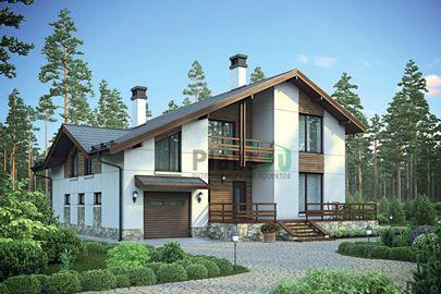 Проект дома с мансардой 13x14 метров, общей площадью 221 м2, из газобетона (пеноблоков), c гаражом, террасой, котельной, лоджией и кухней-столовой