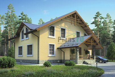 Проект дома с мансардой 13x14 метров, общей площадью 236 м2, из керамических блоков, c гаражом, террасой, котельной и кухней-столовой