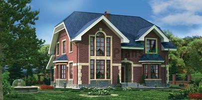 Проект дома с мансардой 13x15 метров, общей площадью 207 м2, из газобетона (пеноблоков), со вторым светом, c террасой, котельной и кухней-столовой