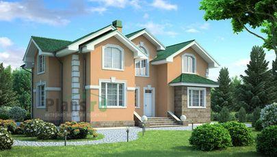 Проект дома с мансардой 13x15 метров, общей площадью 235 м2, из керамических блоков, c террасой, котельной и кухней-столовой