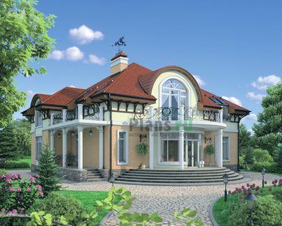 Проект дома с мансардой 13x16 метров, общей площадью 255 м2, из керамических блоков, со вторым светом, c котельной и кухней-столовой