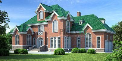 Проект дома с мансардой 13x16 метров, общей площадью 286 м2, из керамических блоков, c гаражом и котельной
