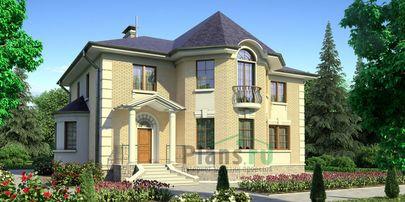 Проект дома с мансардой 13x16 метров, общей площадью 302 м2, из керамических блоков, со вторым светом, c террасой