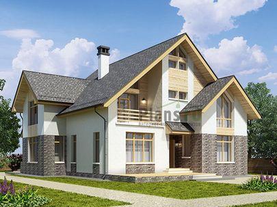 Проект дома с мансардой 13x17 метров, общей площадью 214 м2, из газобетона (пеноблоков), c террасой, котельной, лоджией и кухней-столовой