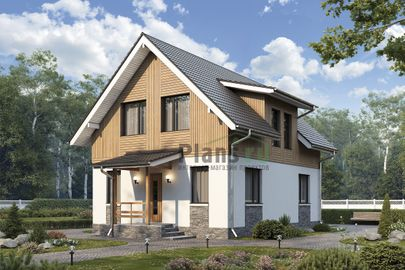 Проект дома с мансардой 13x7 метров, общей площадью 101 м2, из керамических блоков, c террасой и котельной