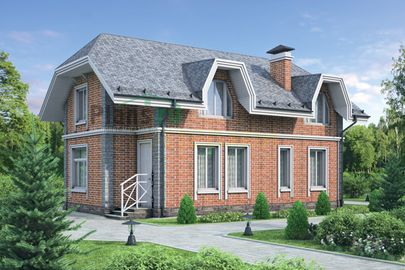 Проект дома с мансардой 13x7 метров, общей площадью 158 м2, из кирпича