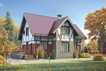 Проект дома с мансардой 13x8 метров, общей площадью 111 м2, из газобетона (пеноблоков), c террасой и котельной