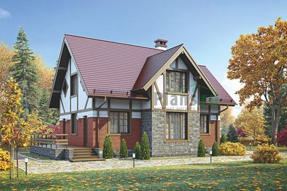 Проект дома с мансардой 13x8 метров, общей площадью 111 м2, из кирпича, c террасой и котельной