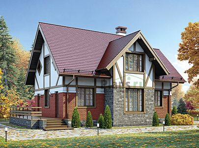 Проект дома с мансардой 13x8 метров, общей площадью 111 м2, из кирпича, c террасой, котельной и кухней-столовой