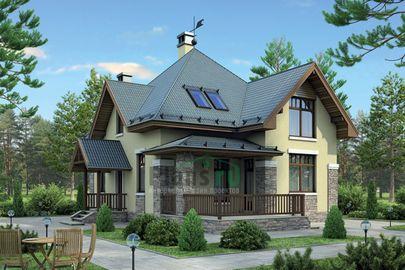 Проект дома с мансардой 13x8 метров, общей площадью 122 м2, из газобетона (пеноблоков), c террасой и котельной