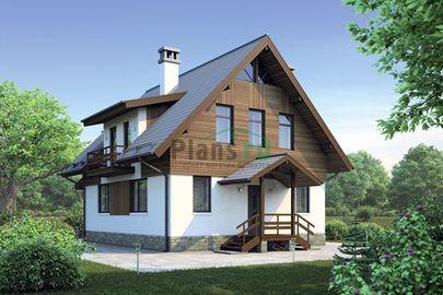 Проект дома с мансардой 13x8 метров, общей площадью 124 м2, из газобетона (пеноблоков), c террасой и котельной
