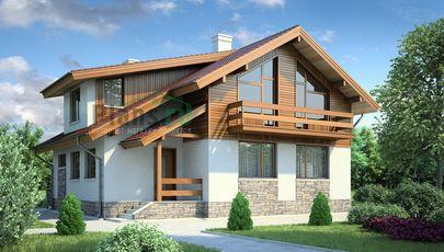 Проект дома с мансардой 13x9 метров, общей площадью 147 м2, из газобетона (пеноблоков), c котельной и кухней-столовой