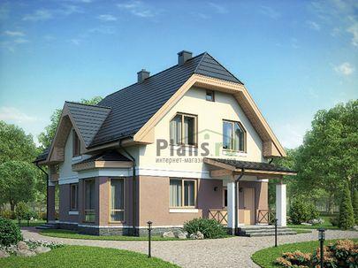 Проект дома с мансардой 13x9 метров, общей площадью 151 м2, из газобетона (пеноблоков), c террасой, котельной и кухней-столовой