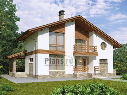 Проект дома с мансардой 13x9 метров, общей площадью 165 м2, из газобетона (пеноблоков), c террасой, котельной и кухней-столовой