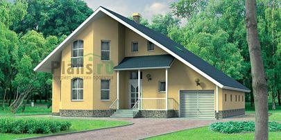 Проект дома с мансардой 13x9 метров, общей площадью 185 м2, из газобетона (пеноблоков), со вторым светом, c гаражом и зимним садом