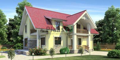 Проект дома с мансардой 14x10 метров, общей площадью 174 м2, из кирпича, c террасой, котельной и кухней-столовой