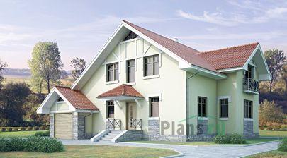 Проект дома с мансардой 14x10 метров, общей площадью 177 м2, из газобетона (пеноблоков), c гаражом и котельной