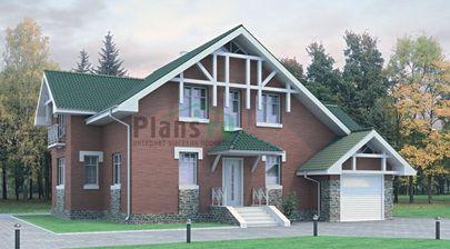 Проект дома с мансардой 14x10 метров, общей площадью 177 м2, из кирпича, c гаражом и котельной