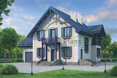 Проект дома с мансардой 14x10 метров, общей площадью 179 м2, из газобетона (пеноблоков), c гаражом, котельной и кухней-столовой