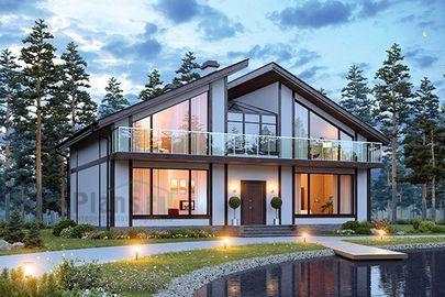 Проект дома с мансардой 14x10 метров, общей площадью 209 м2, из газобетона (пеноблоков), c котельной