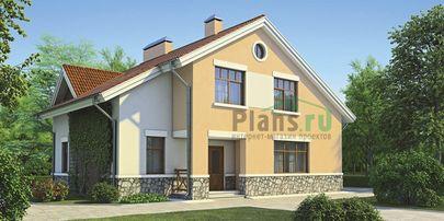 Проект дома с мансардой 14x10 метров, общей площадью 216 м2, из газобетона (пеноблоков), c котельной и кухней-столовой